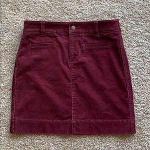 Ann Taylor Corduroy Maroon Skirt